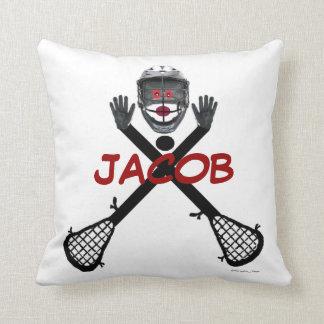 Custom Lacrosse Player Cartoon Throw Pillows