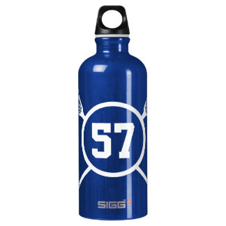 Custom Lacrosse Player Number Aluminum Water Bottle
