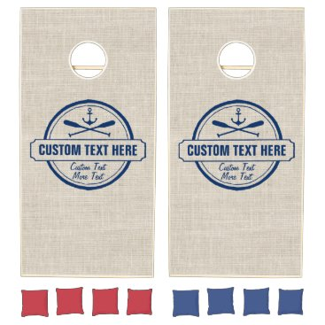 Beach Themed Custom Lake, Beach House & Boat Nautical Anchor Cornhole Set