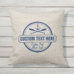 "Custom Lake, Beach House &amp; Boat Nautical Anchor Outdoor Pillow<br><div class=""desc"">Show your lake house/beach house/boating pride with this custom pillow. A vintage logo style design features a nautical anchor and 2 criss-crossed paddles - all set against a faux tan linen-look background. Personalize with 3 lines of custom text - add your lake/beach name, family name, cabin/beach house, boat name, town,...</div>"