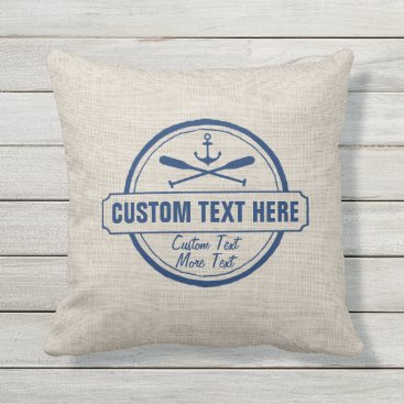 colorfulgalshop Custom Lake, Beach House & Boat Nautical Anchor Outdoor Pillow