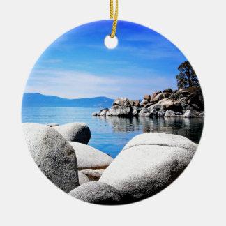 Custom Lake Tahoe Sand Harbor Photograph Ceramic Ornament