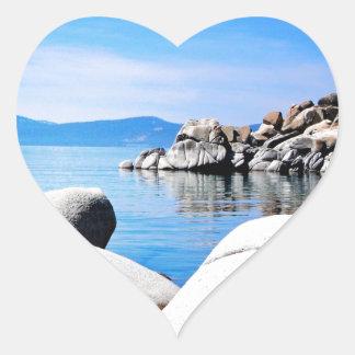 Custom Lake Tahoe Sand Harbor Photograph Heart Sticker