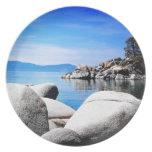 Custom Lake Tahoe Sand Harbor Photograph Dinner Plate