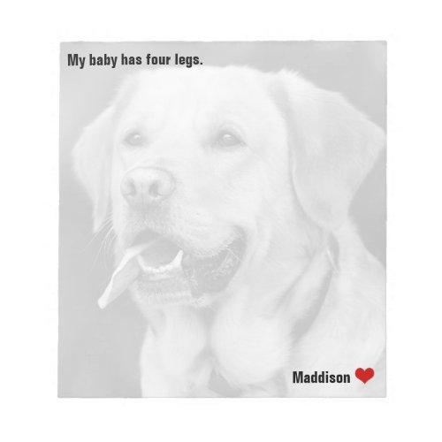 Custom Large Black   White Photo Personalized Pet Notepad