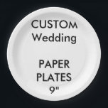 """Custom Large Disposable Wedding Paper Plates 9""""<br><div class=""""desc"""">CUSTOM PRINTED PERSONALIZED PAPER PLATE Blank Template. CREATE YOUR OWN WEDDING PAPER PLATES. MAKE YOUR OWN DISPOSABLE PAPER PLATES. DESIGN YOUR OWN PARTY PLATES. UPLOAD YOUR OWN DESIGN, PHOTO, PATTERN, LOGO. ADD MULTI FONT TEXT. FULLY PERSONALIZE. Custom Paper Plates, Large 9"""", set of 8, for serving lunch, barbecue, salad etc....</div>"""