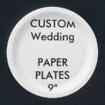 "Custom Large Disposable Wedding Paper Plates 9""<br><div class=""desc"">CUSTOM PRINTED PERSONALIZED PAPER PLATE Blank Template. CREATE YOUR OWN WEDDING PAPER PLATES. MAKE YOUR OWN DISPOSABLE PAPER PLATES. DESIGN YOUR OWN PARTY PLATES. UPLOAD YOUR OWN DESIGN, PHOTO, PATTERN, LOGO. ADD MULTI FONT TEXT. FULLY PERSONALIZE. Custom Paper Plates, Large 9"", set of 8, for serving lunch, barbecue, salad etc....</div>"