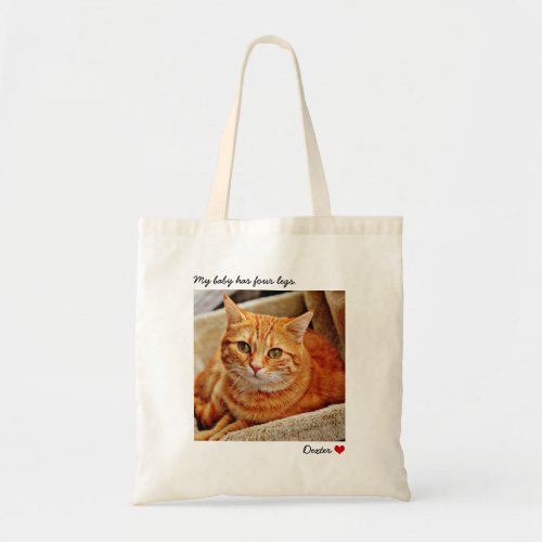Custom Large Photo Personalized Cat Tote Bag