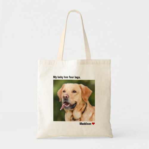 Custom Large Photo Personalized Dog Tote Bag