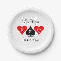 Custom Las Vegas casino theme wedding party plates
