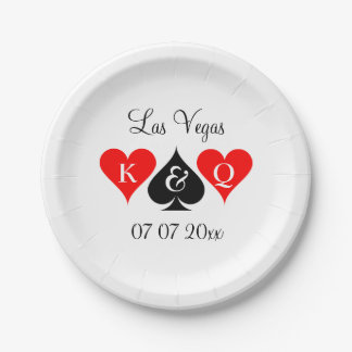Custom Las Vegas casino theme wedding party plates