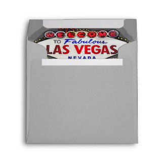 Custom Las Vegas Invitation Silver Gray Envelope