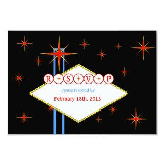 "Custom Las Vegas Nights Marquee Response Card 3.5"" X 5"" Invitation Card"