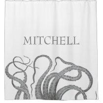 Custom last name nautical octopus kraken tentacles shower curtain