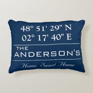 Custom Latitude Longitude Family Name Home Address Accent Pillow