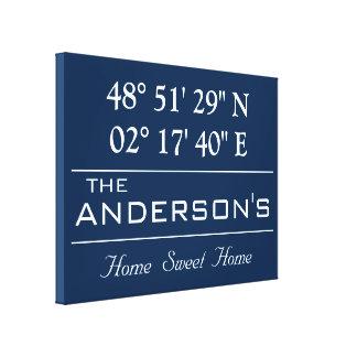 Custom Latitude Longitude Family Name Home Address Canvas Print
