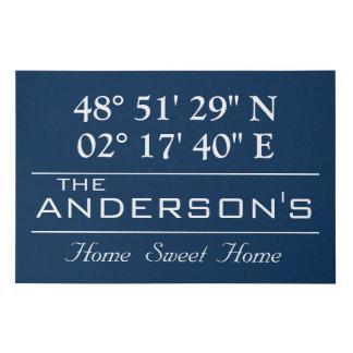 Custom Latitude Longitude Family Name Home Address Faux Canvas Print