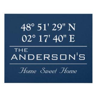 Custom Latitude Longitude Family Name Home Address Panel Wall Art