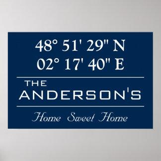 Custom Latitude Longitude Family Name Home Address Poster