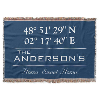 Custom Latitude Longitude Family Name Home Address Throw Blanket
