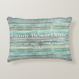 Custom Lattitude And Longitude Coastal Decor Accent Pillow