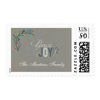 Custom Laurel Branch Peace and Joy Holiday Postage