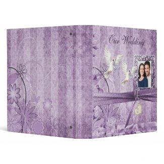 Custom Lavender Floral Wedding Photo Album binder