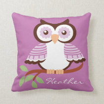 Custom Lavender Owl On A Branch Decorator Pillow