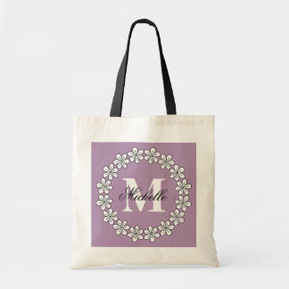 Custom lavender purple floral bridesmaid tote bags