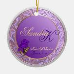 Custom Lavender Purple Maid Of Honor Keepsake Christmas Tree Ornament