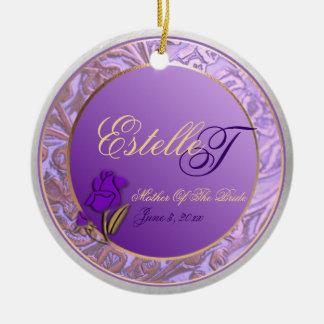Custom Lavender Purple Mother of Bride Keepsake Ceramic Ornament