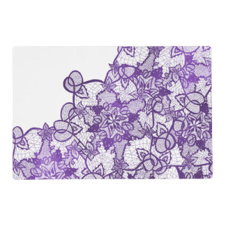 Custom lavender purple watercolor floral lace placemat