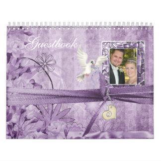Custom Lavender Vintage Floral Wedding Guestbook Calendar