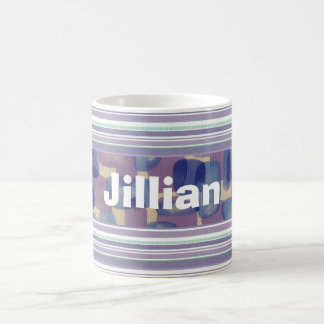 Custom Lavender White and Blue Striped Mug Cup