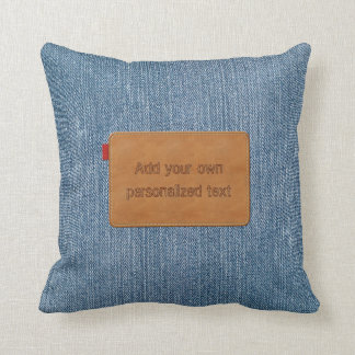 Custom Leather Tag Blue Jean Denim Throw Pillow
