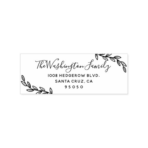 Custom Leaves  Script Family Name Return Address Rubber Stamp