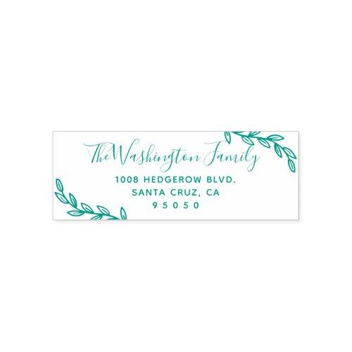 Custom Leaves  Script Family Name Return Address Self_inking Stamp