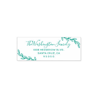 Custom Leaves & Script Family Name Return Address Self-inking Stamp