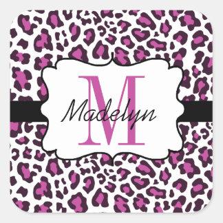 Custom Leopard Print Purple Black White Stickers