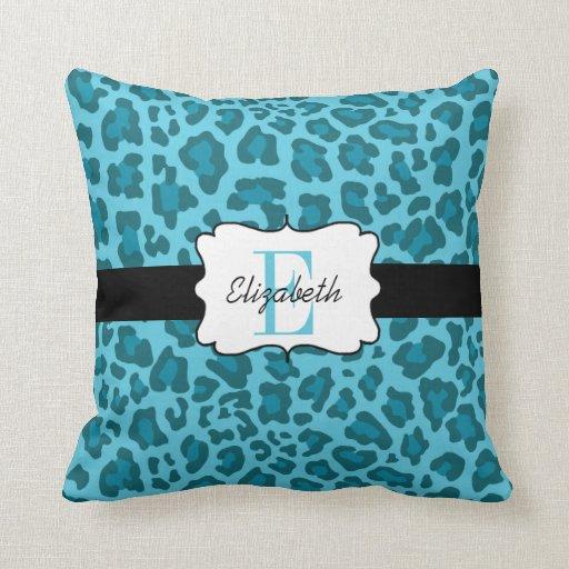 Custom Leopard Shades of Blue Throw Pillow Zazzle