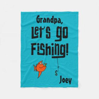 Custom Let's Go Fishing! Fleece Blanket