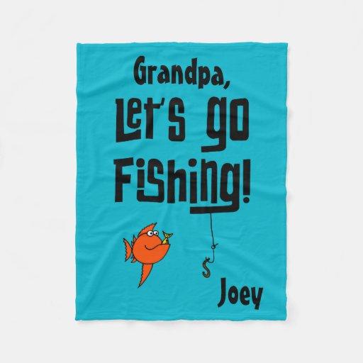 Custom let 39 s go fishing fleece blanket zazzle for Lets go fishing