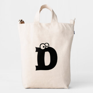 Custom Letter D Initial Monogram Funny Duck Bag