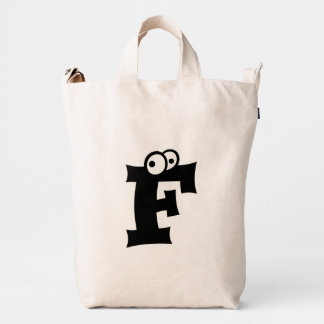 Custom Letter F Initial Monogram Funny Duck Bag