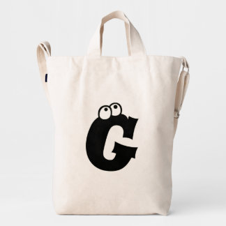 Custom Letter G Initial Monogram Funny Duck Bag