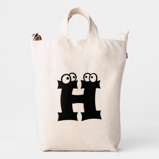 Custom Letter H Initial Monogram Funny Duck Bag