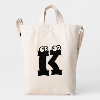 Custom Letter K Initial Monogram Funny Duck Bag