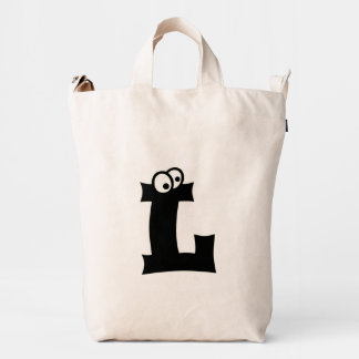 Custom Letter L Initial Monogram Funny Duck Bag