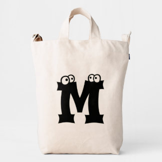 Custom Letter M Initial Monogram Funny Duck Bag