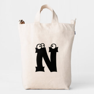 Custom Letter N Initial Monogram Funny Duck Bag
